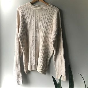 Vintage Cable Knit Crewneck Sweater Ivory